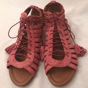 *ZARA* Woman Pink Textured Gladiator Sandals - 6.5